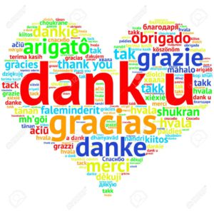 Focus on Dutch: Dank u. Word cloud in heart shape on white Background. saying thanks in multiple languages.
